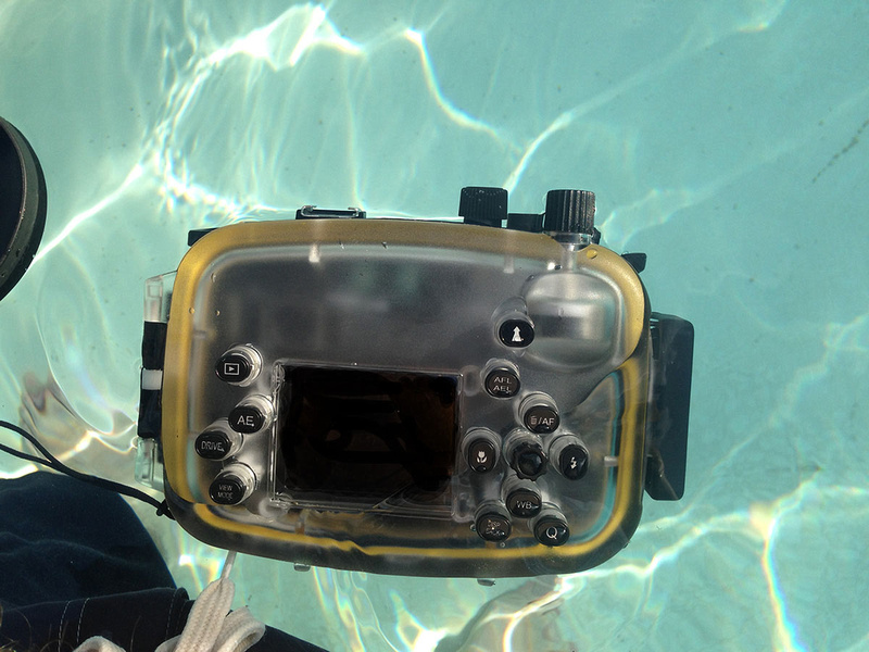 The Meikon X100S housing floats with the camera inside, but not with so much buoyancy that it's hard to handle underwater.